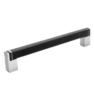 Cabinet Square Leather Handles - 200mm - Dark Brown