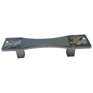 Cabinet Handle - 64mm - Crystal with Chrome Plated Finish