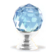 Round Blue Crystal Cabinet Knob - Chrome Plated Finish - 20mm