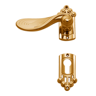 Door Lever Handle in Polished Brass Fin