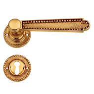 Door Lever Handle on Rose in Antique Br