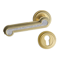 Swarovski Door Lever Handle in Polished Brass Finish