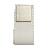 Cabinet Leather Pull - 84mm - Brass / White Leather