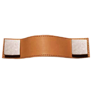 Cabinet Leather Handle - 160mm - Brass / Brown Leather