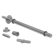 Coated Steel-Bar Shelf Support for Glass - Aluminium Finish