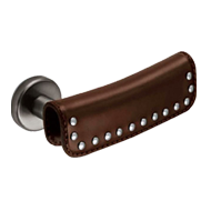 Rodeo Lever Handle in Brown Leather Fin