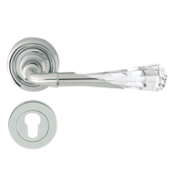 GEMMA Crystal Swarovski Lever Handle in Polished Chrome Finish