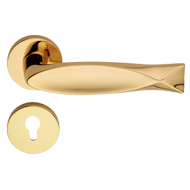 FISH Door Lever Handle in Gold Plated F