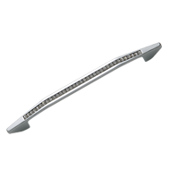 Modern Cabinet Handle - 160mm -  Crystal with Polished Chrome Finish