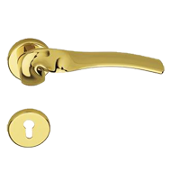 Lever Handle on Rose in Gold Plated Fin