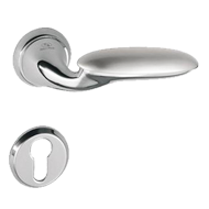 Lever Handle on Rose in Polished Chrome Finish