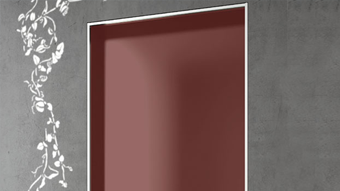 Swing door with aluminium panel in anodized aluminum finish