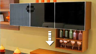 Cabinet Lift with RF remote set - Electric Flat Lift - silver - Suitable for screen
