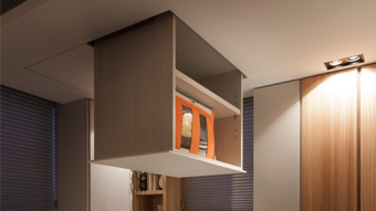 Electric flat Cabinet lift with remote - designed for sma